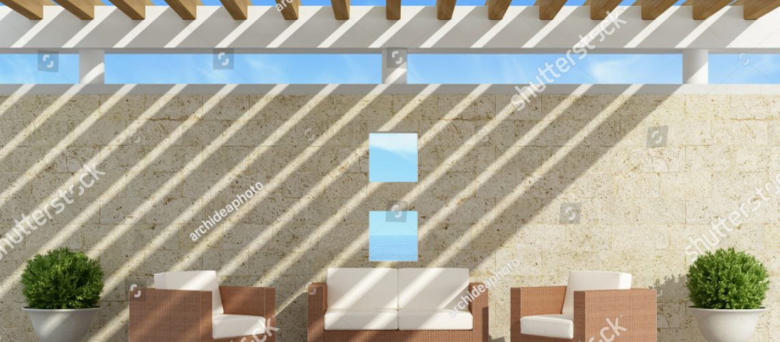 stock-photo-garden-with-sofas-and-armchairs-under-a-pergola-d-rendering-501786022